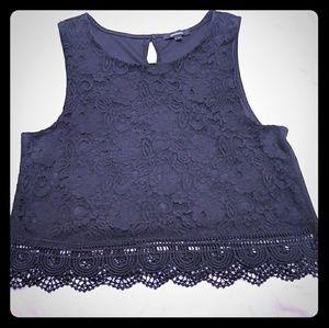 Black crop top blouse.